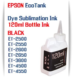 BLACK EPSON EcoTank 120ml Dye Sublimation Bottle Ink