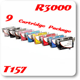 9 Cartridge Package Epson Stylus Photo R3000 Photo Printer Compatible Refillable Ink Cartridges