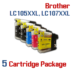 LC105XXL, LC107XXL Brother 5 Cartridge Package Ink Cartridges