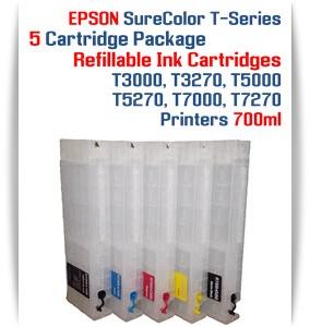 5 Empty Refillable Cartridges EPSON SureColor T-Series Refillable Printer Ink Cartridges 700ml
