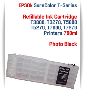 Photo Black EPSON SureColor T3000, T3270 Refillable Printer Ink Cartridges 700ml