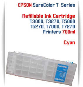 Cyan EPSON SureColor T5000, T5270 Refillable Printer Ink Cartridges 700ml