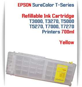 Yellow EPSON SureColor T3000, T3270 Refillable Printer Ink Cartridges 700ml