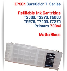 Matte Black EPSON SureColor T3000, T3270 Refillable Printer Ink Cartridges 700ml