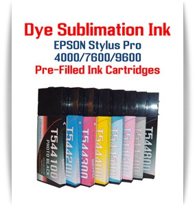 Dye Sublimation Filled Ink Cartridges Epson Stylus Pro 4000, 7600, 9600 printers
